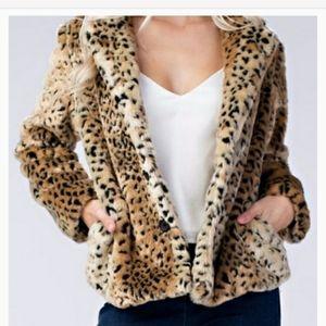 Honey Punch Leopard Faux Fur Coat